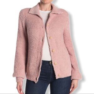 Susina pink teddy fleece knit cardigan XL new